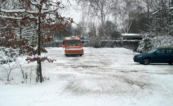 Pause im Schneeräumfahrzeug