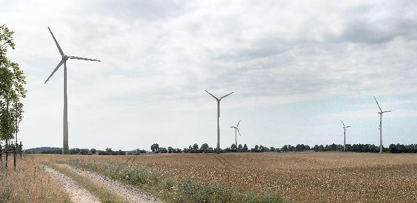 Brandenburg. Uckermark. Windkrafträder