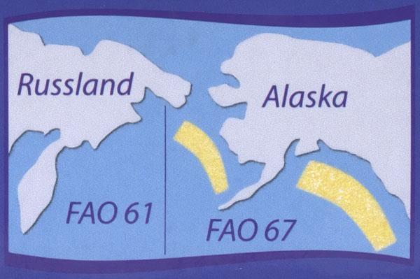 Darstellung des Fanggebiets auf einer Packung Fischstäbchen