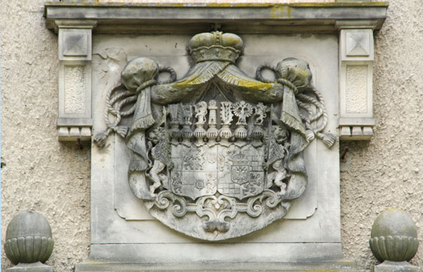 17. 6. 2014. Brandenburg Baruth/Mark. Schloss in Baruth / Mark. Fürstliches Wappen Solms-Baruth
