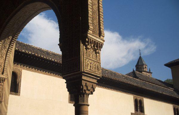 März 1997. Spanien. Andalusien. Granada. Alhambra. Maurische Architektur